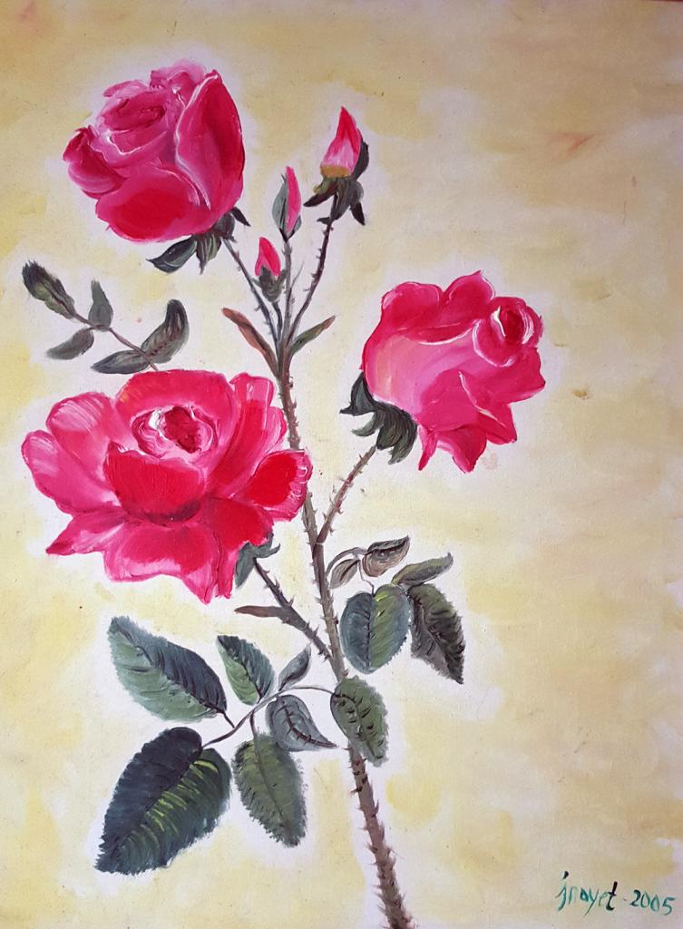 Pembe Güller - 50x60cm kanvas tuvale Yağlıboya Çerçeveli