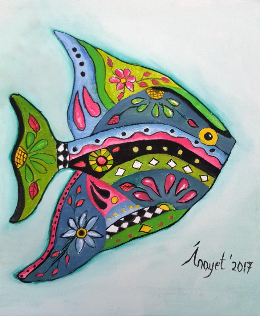Balık 2 - 30x30cm kanvas  tuvale Akrilik