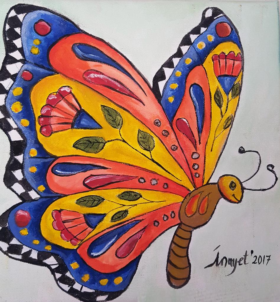 Kelebek 2 - 25x25cm kanvas tuvale Akrilik