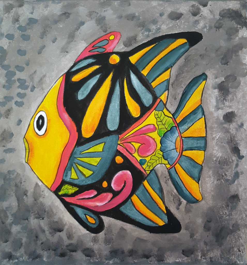 Balık 1 - 30x30cm kanvas tuvale Akrilik