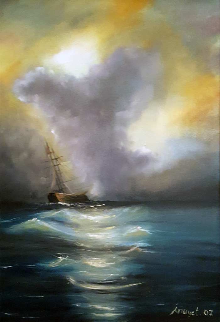 Fırtına - 40x50cm kanvas tuvale Yağlıboya Çerçeveli