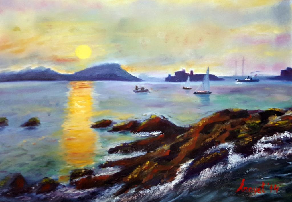 Marmaris Günbatımı - 35x50cm kanvas tuvale Yağlıboya Çerçeveli