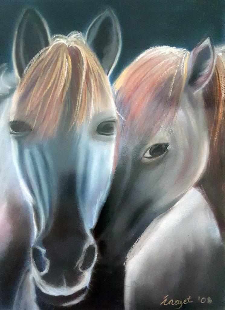 Atlar - 35x50cm Kurupastel Çerçeveli  SATILDI
