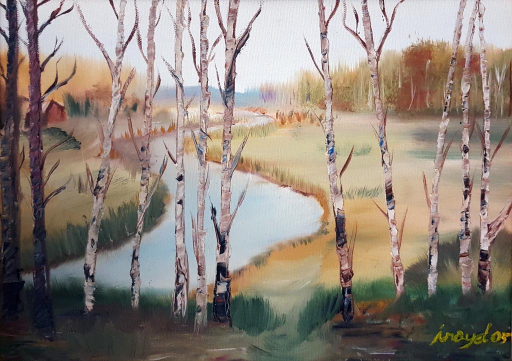 İlkbahar - 35x45cm Kanvas tuvale Yağlıboya Çerçeveli