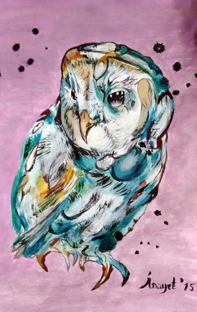 Mavi Baykuş- 30x20cm Çerçeveli Kağıda Guaj