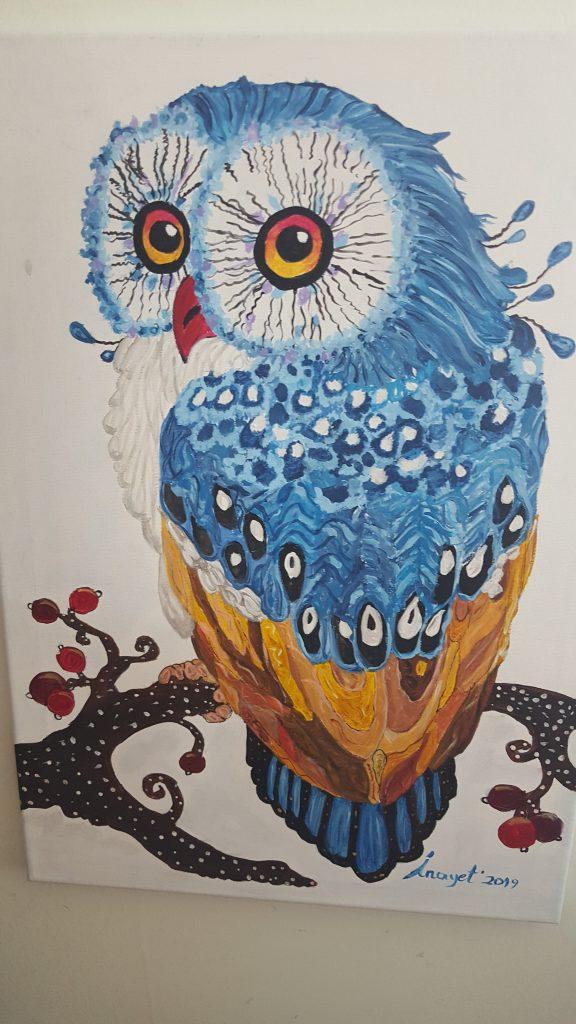 Nazarlık - Puhu kuşu 35x50 cm kanvas tuvaa üzerine akrilik 500 TL  (Satıldı)